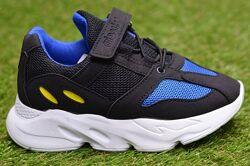 Детские кроссовки на липучках Adidas адидас синие черный р30-35