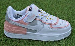 Детские кроссовки nike air force shadow pink найк аир форс белый розовый
