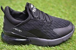 Детские кроссовки аналог Nike Air Max 270 Black найк аир макс черные р31-36