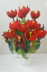 тюльпаны, крокусы, букеты из бисера