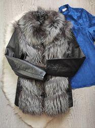 Чернобурка шуба трансформер жилетка короткая кожаная куртка натуральная