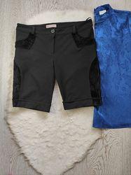 Черные теплые зимние осенние шорты длинные бриджи с черным мехом