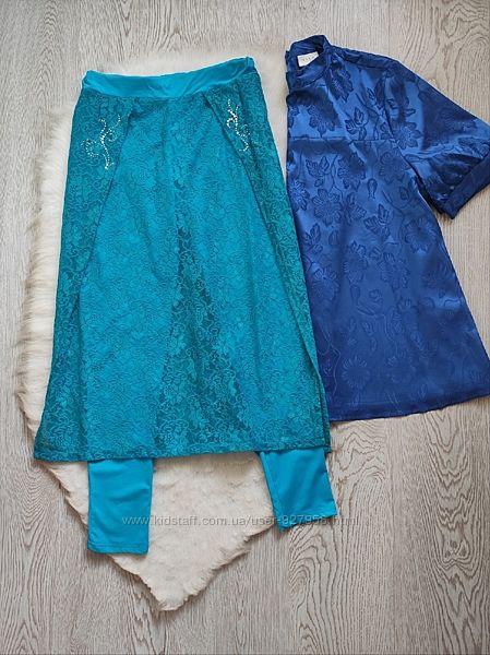 Голубые бирюзовые лосины леггинсы с ажурной длинной юбкой стразами