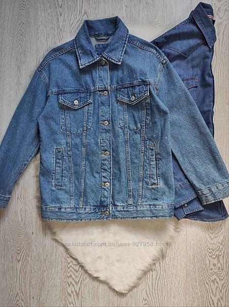 Синяя голубая плотная джинсовая куртка женская унисекс длинная короткая