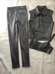 Теплые зимние черные кожаные штаны брюки лосины леггинсы мехом высокая