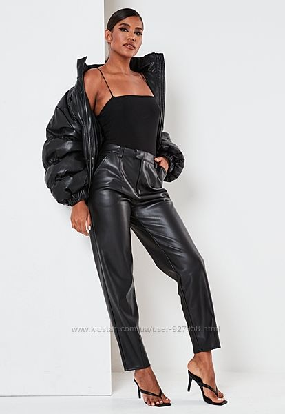 Черные прямые кожаные штаны брюки кюлоты кроп теплые зимние трубы