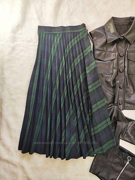 Дизайнерская длинная юбка плиссе миди теплая в клетку синяя зеленая
