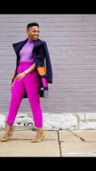 Малиновые яркие розовые штаны брюки кроп большого размера батал цветные