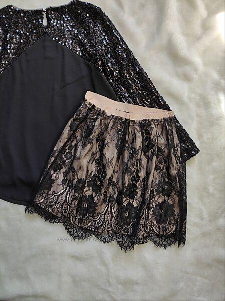 Бежевая черная короткая нарядная юбка пышная мини гипюром вышивкой ажурная