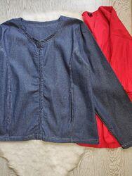 Синяя короткая джинсовая куртка жакет пиджак на молнии замке с карманами