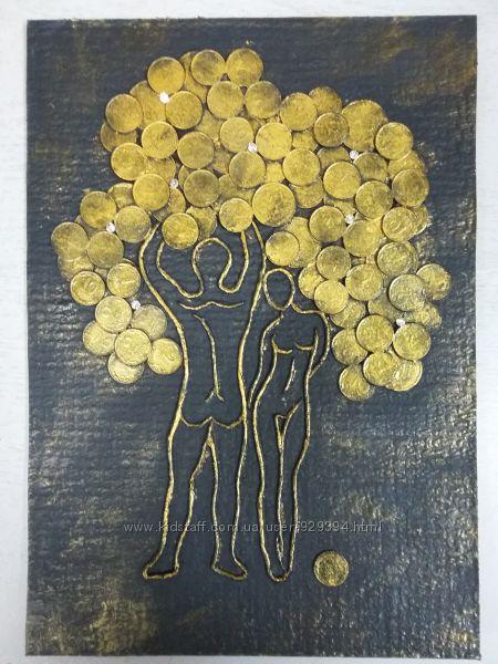 Картина из монет, денежное дерево