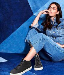 Новые кожаные высокие кеды ботинки ecco soft 8 оригинал 37р.
