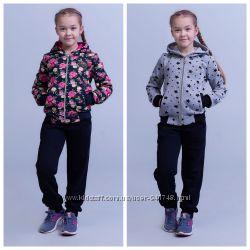 Красивые теплые качественные костюмы для девочек в размерах 98-146