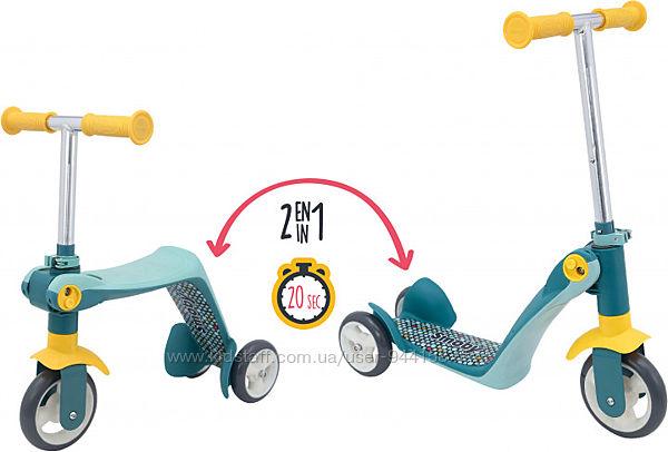 750612 Детский самокат-трансформер 2 в 1 Smoby Toys с металлической рамой т