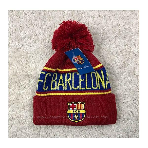 Зимняя шапка с бубоном Барселона вишневая унисекс