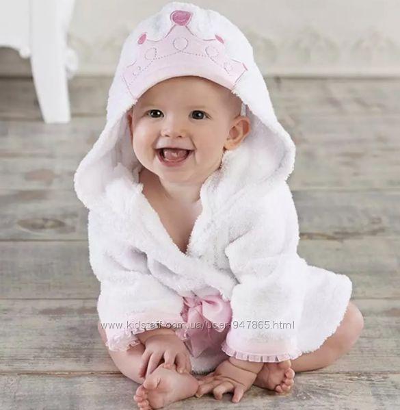Плюшевый халат для девочек с капюшоном