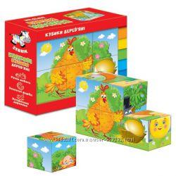 Деревянные кубики Vladi Toys Сказки Курочка Ряба, Колобок, Репка, Теремок