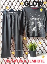 Хлопковая пижама со светящимся космическим рисунком, испания