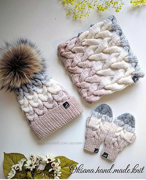 Шапочка, ручная работа, вязанная, шапка, Hand Made, снуд, комплекты