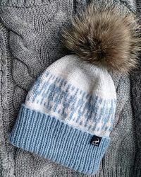 Вязанная шапка, ручная работа, шапочка с помпоном