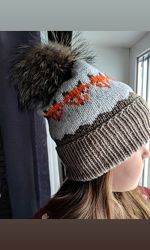 Вязаная зимняя шапка, шапочка с меховым помпоном, ручная работа