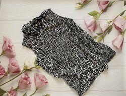 Блуза в горошек, черно-белая блуза, летняя блуза, вискоза, легкая блуза Com