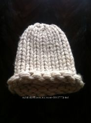 Шапка зимняя шерсть мериноса теплая в идеале крупная вязка