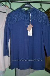 Трикотажная кофточка  блузка синего цвета, Stradivarius, рамер S