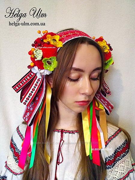 Головний убір для українського костюму Вушка - оранж.