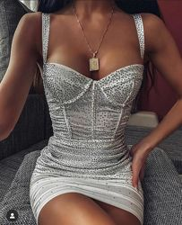 Oh Polly роскошное белое  украшенное камнями мини-платье