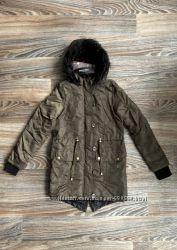 Новая хаки куртка парка с капюшоном с черным искусственным мехом BRAVE SOUL