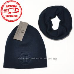 Мужской комплект вязаная шапка и шарф хомут Philipp Plein 3 цвета Турция