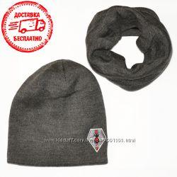 Мужской комплект вязаная шапка и хомут шарф Gucci Гуччи 3 цвета Турция