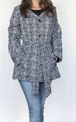 Новый женский черно-белый тренч плащ дождевик пальто размер S