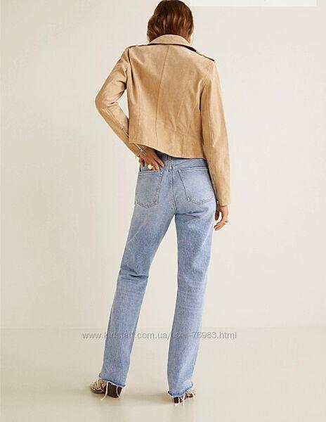 стильная кожаная куртка, косуха Mango, 100 натуральная замша