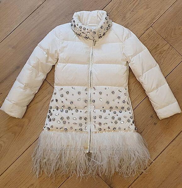 Роскошная зимняя куртка пуховик Miss Blumarine на 8 лет