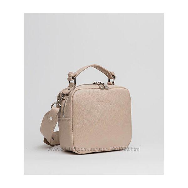 Нежная бежево-розовая сумка в натуральной коже среднего размера