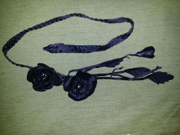 Чёрный кожаный пояс плетёный
