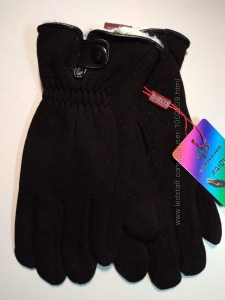 Стрейчевые перчатки зима на меху