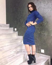 Платье гольф футляр синий меланж ангора-софт