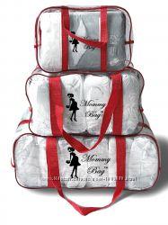 Прозрачные сумки для вещей в роддом Mommy Bag Польша Набор 5 цветов