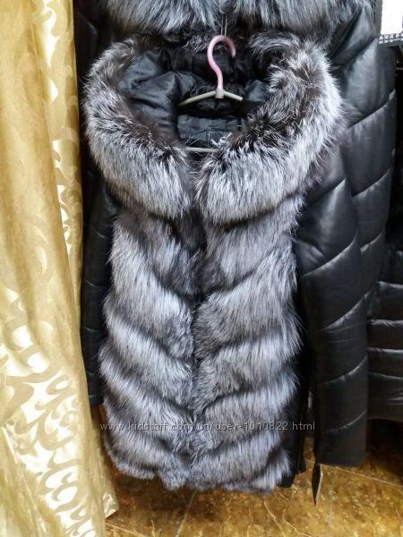 Куртка с мехом чернобурки