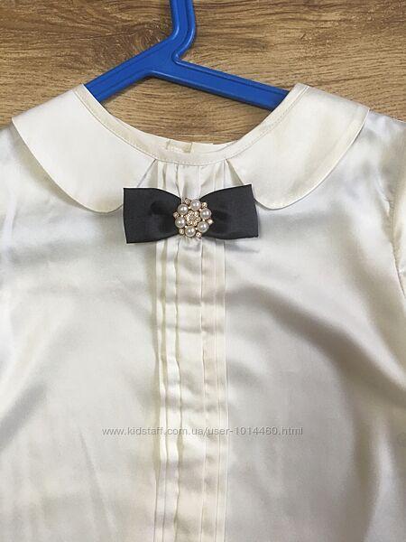 Молочная атласная блуза baby angel