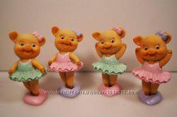 Свинка балерина - керамическая фигурка . Символ 2019 года