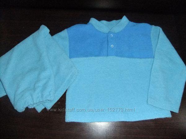 Пижама теплая для мальчика 2-3 года 86-92 махра на байке