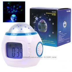 Часы проектор звёздное небо 10 мелодий, термометр, будильник, календарь