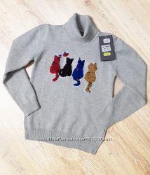 Серый свитерок с разноцветными котятами с бисера
