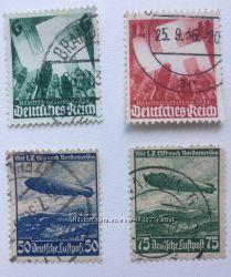 Марки Рейх. 4 шт-лот. 1936-1943гг. Страницы истории.