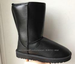 Супер низкая цена Угги черные средние эко кожаные женские сапоги дутики