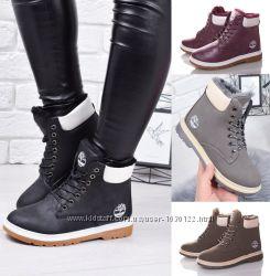 Зимние ботинки тимберленды женские черные серые бордовые хаки на меху 5c7cc94bd3a